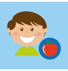 boy cartoon school apple icon design vector image vector image