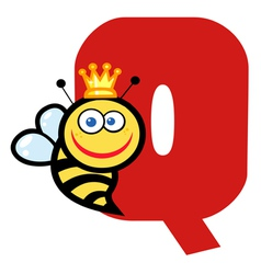 Letter Q With A Queen Bee vector image vector image