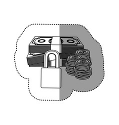 monochrome contour sticker of bills and coins with vector image vector image