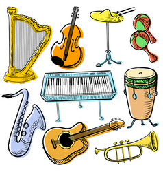 musical instruments doodle set cute line art vector image