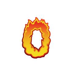 Number 0 fire flames font zero tattoo alphabet vector