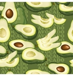Seamless texture with avocado and slices on green vector image vector image