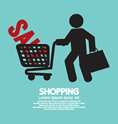 Shopper With Shopping Cart Symbol vector image vector image