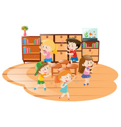 Children playing music chairs in classroom vector