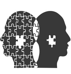 couple jigsaw puzzle people head background vector image