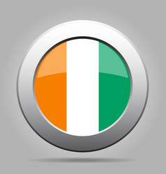 flag of ivory coast shiny metal gray round button vector image vector image