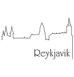 reykjavik city one line drawing background vector image