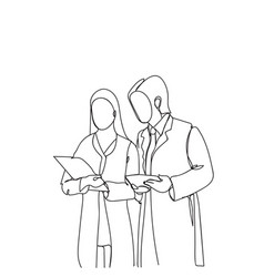 silhouette man and woman scientists in white coats vector image