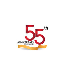 55 anniversary design logotype red color vector
