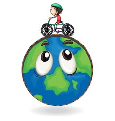 a boy riding on bicycle on earth globe vector image