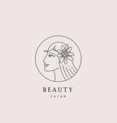abstract logo and female branding design vector image