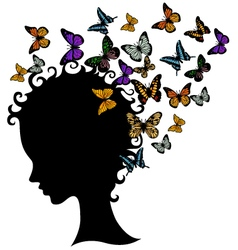 Abstract young girl face silhouette in profile wit vector