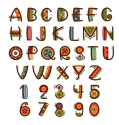 African ethnic primitive font Hand drawn brightly vector