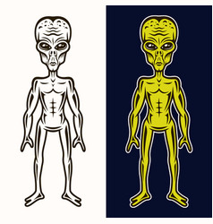 Alien body in two styles black and colored vector