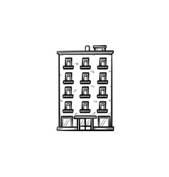 apartment building hand drawn outline doodle icon vector image