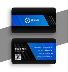 black and blue professional business card design vector image