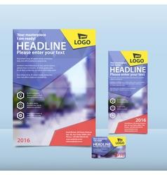 Blue brochure flyer and card design vector image