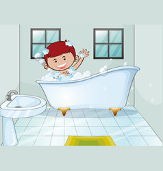 Boy taking bubble bath alone vector