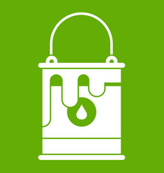 Bucket with paint icon green vector