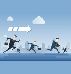 Business people group run team leader under arrow vector
