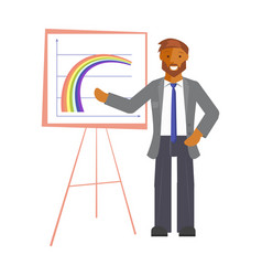 businessman explaining charts vector image