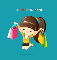 Businesswoman jumping in the air with shopping bag vector image