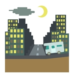 Camper rides at night in city concept flat style vector