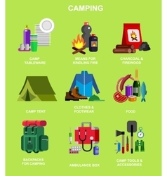 Camping and barbecue object vector image