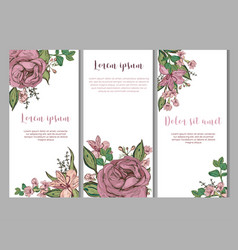 card templates with beautiful flowers vector image
