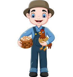 cartoon farmer holding chicken and a basket of egg vector image