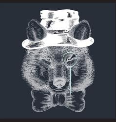 cartoon hand drawn animal hipster wild wolf vector image