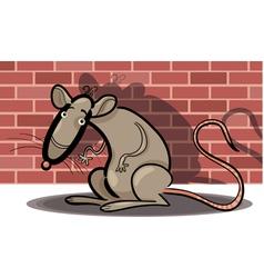 Cartoon rat against brick wall vector