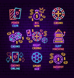 casino game neon label set vector image