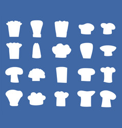 Chef hats designs isolated white silhouettes set vector