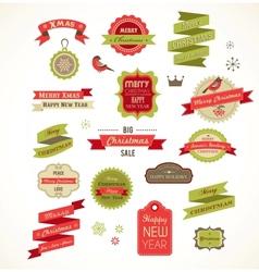 Christmas vintage labels elements vector