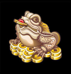 Collection mascots frog with coins vector