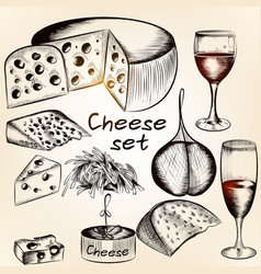 collection of hand drawn cheese assorted vector image