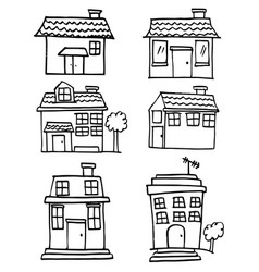 collection of house set doodle vector image