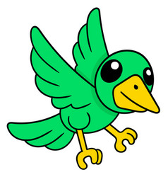 Cute green parakeet flying doodle icon drawing vector