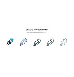 Delete anchor point icon in different style two vector