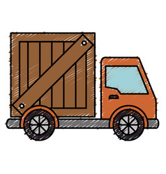 Delivery service truck isolated icon vector