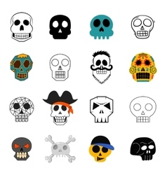 Different skull faces vector