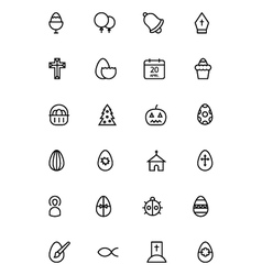 easter line icons 5 vector image