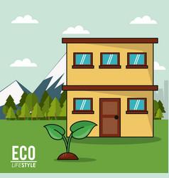 Eco lifestyle house plant landscape image vector