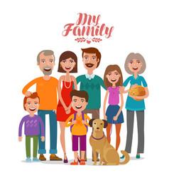 Family portrait happy people parents vector