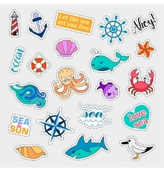 Fashion patch badges Sea set Stickers pins vector