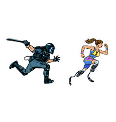 Female runner athlete with a disability riot vector