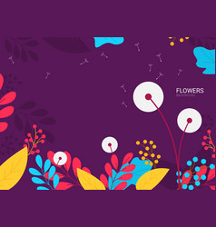 flat flowers background vector image