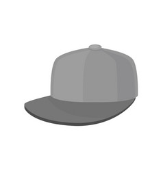 flat icon of gray baseball cap hat with vector image