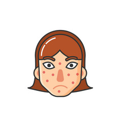 Girl with rash on face skin problem by sickness vector